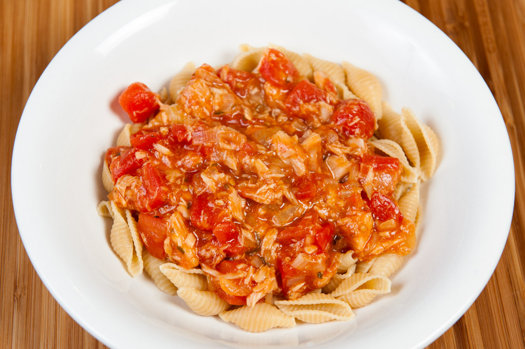 Tuna pasta portion.