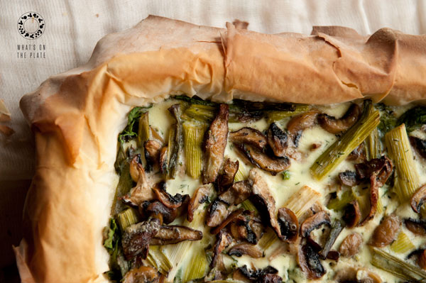 Mushroom, Spinach and Scallion Tart - What's on the Plate